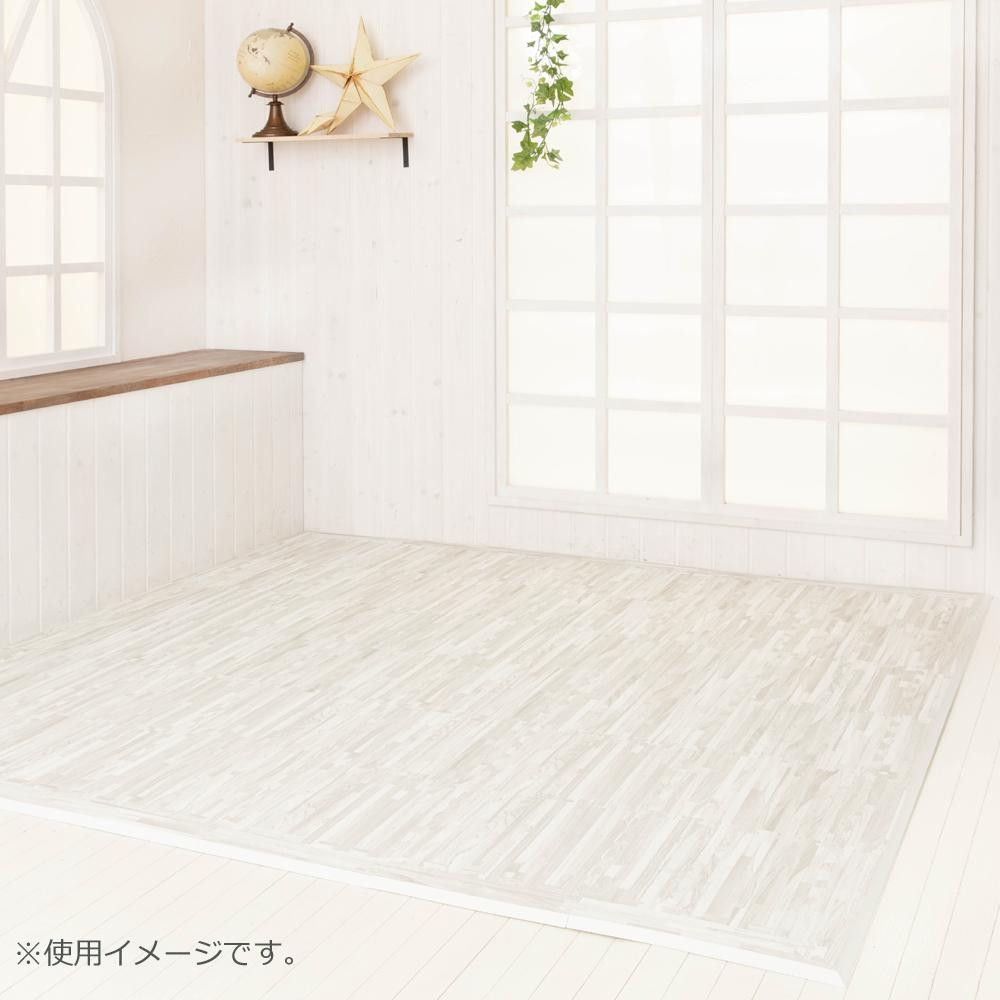 白っぽいフローリングにも綺麗に映えるホワイトウッド柄 抗菌フロアーマット ホワイトウッド 195×195cm 『4年保証』 敷物 海外 カーテン