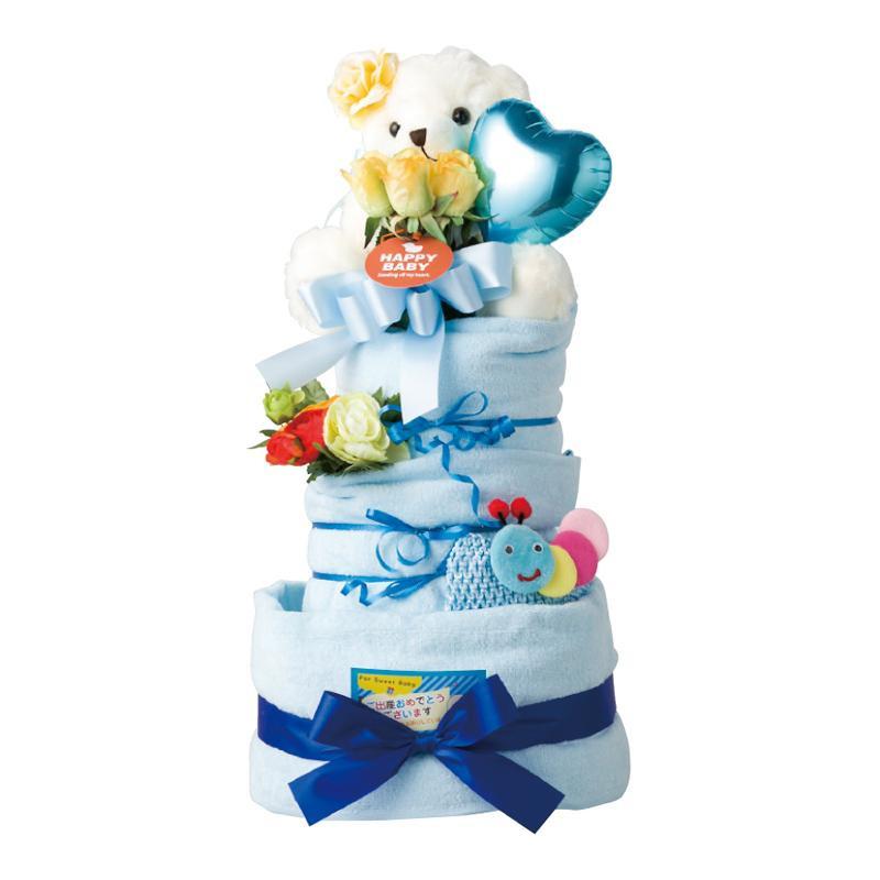 おむつケーキ 3段 ブルー 19-10000B-OP 6054-088【ベビーその他】