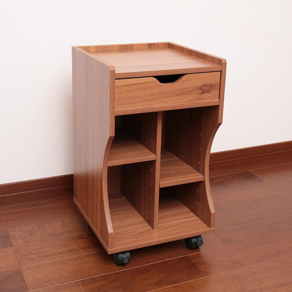 木製ベッドサイドワゴン ブラウン LBD-30B【家具 イス テーブル】