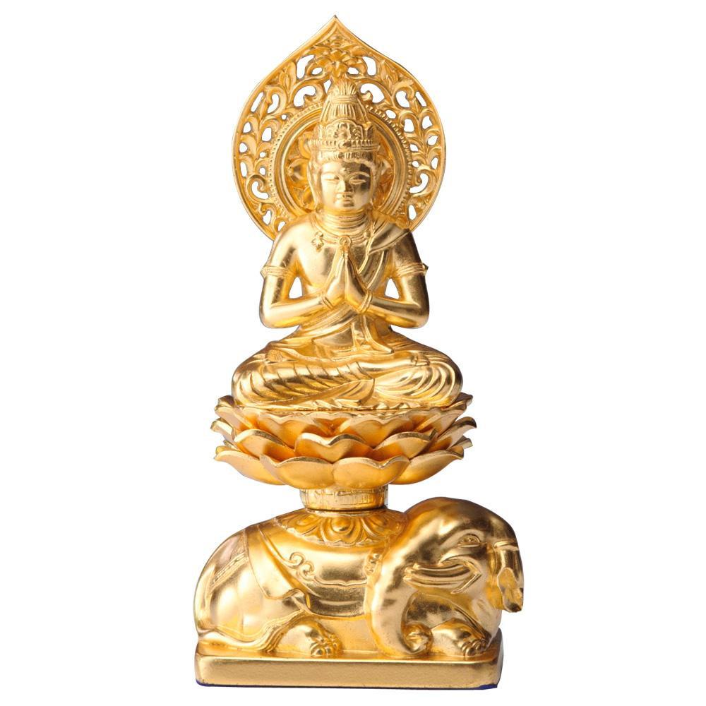 超歓迎された インテリアとして飾れる仏像です 普賢菩薩 15cm 正規認証品!新規格 金箔仕様 冠婚葬祭