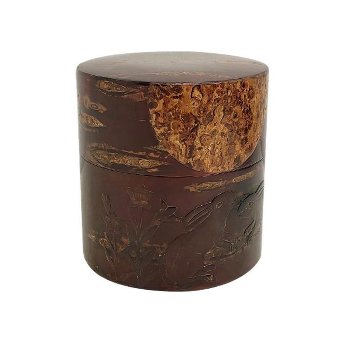 【代引き・同梱不可】総皮茶筒(平)月うさぎ 33500【食器】