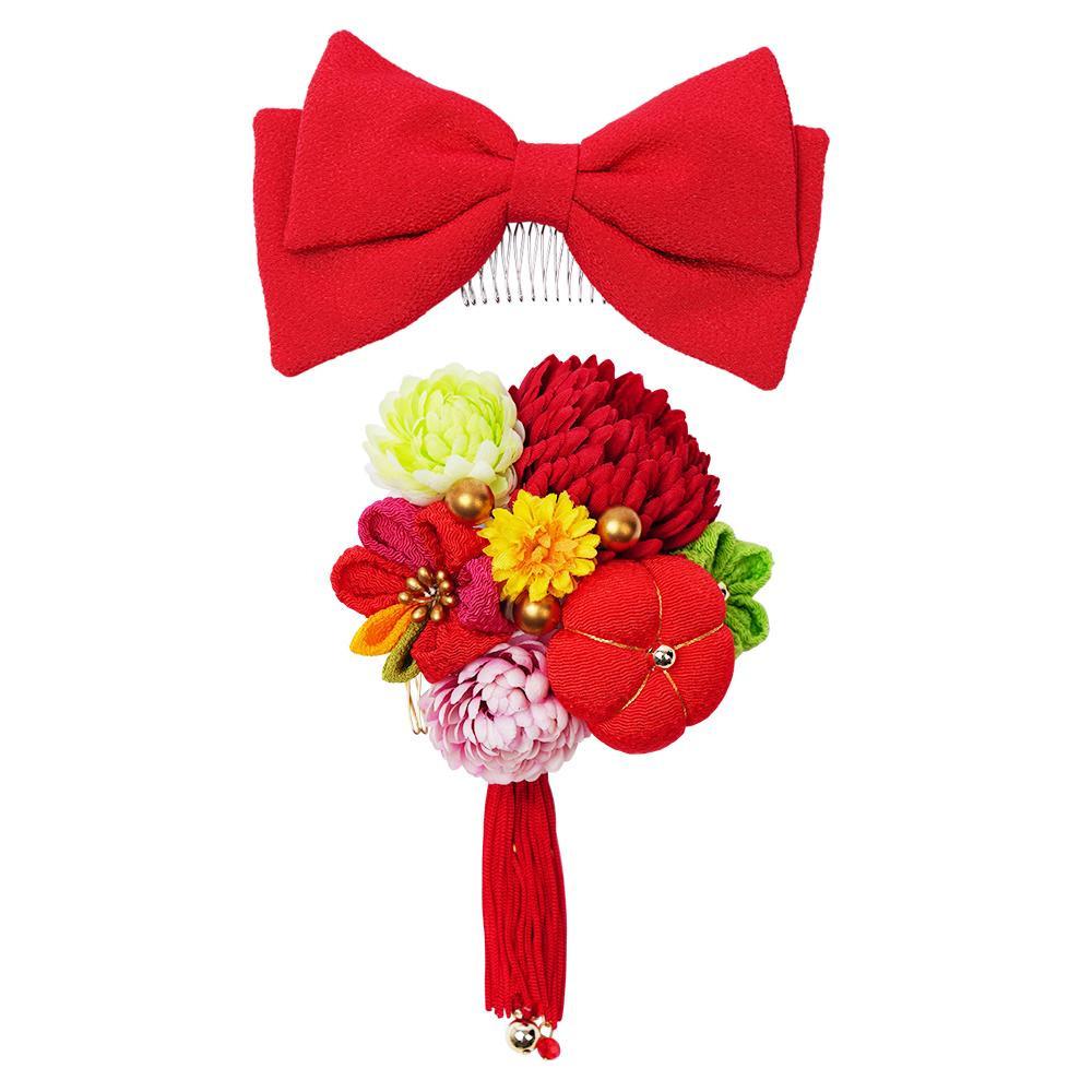 ぽんぽん菊とリボンの和風髪飾りセット (コーム2点) 224-042 アカ【和装】