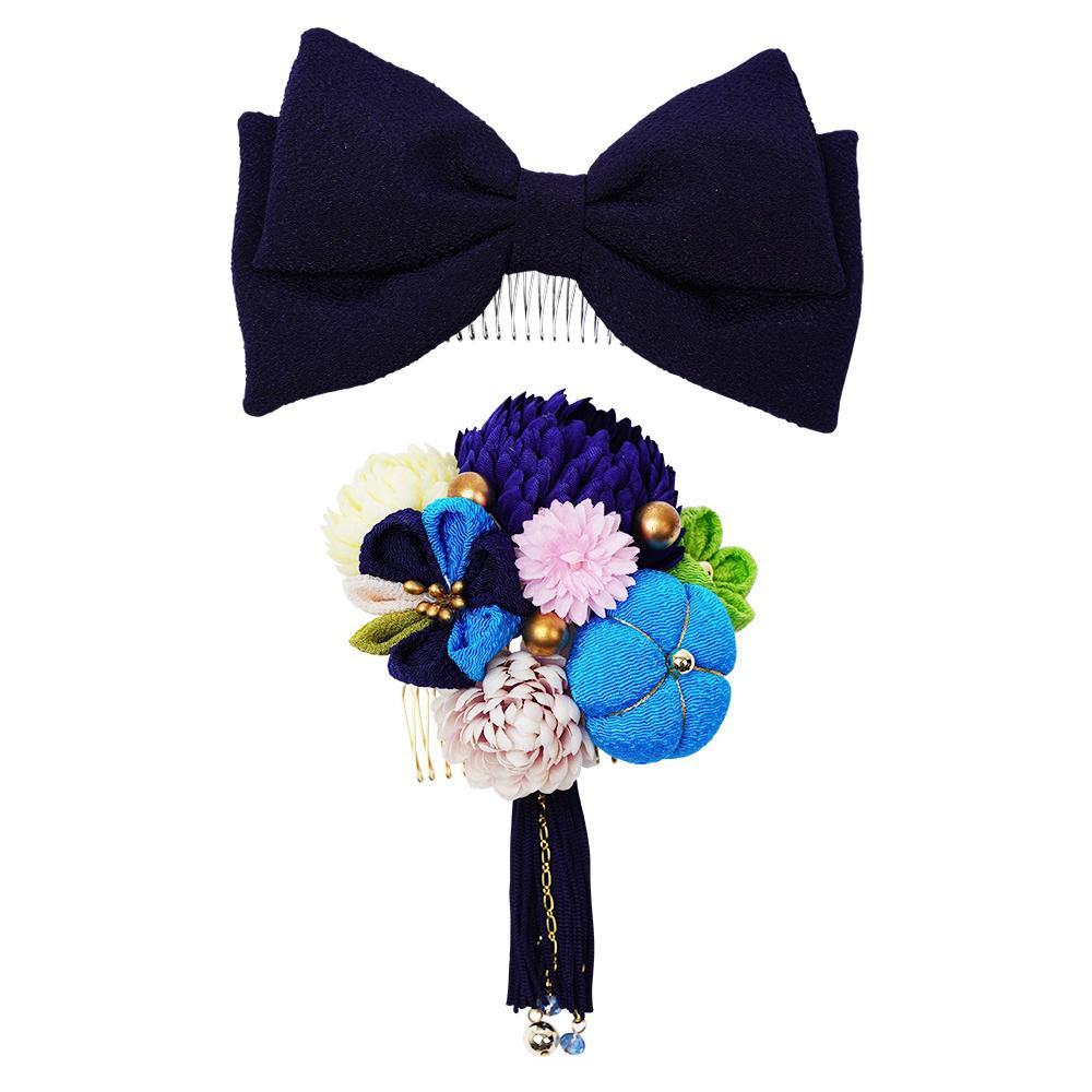 ぽんぽん菊とリボンの和風髪飾りセット (コーム2点) 224-042 コン【和装】