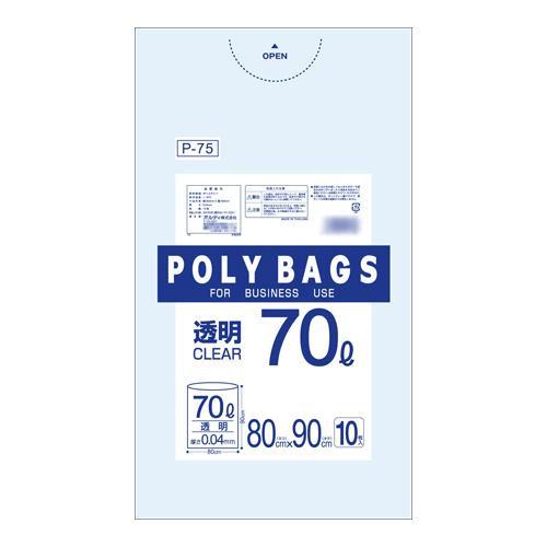 【代引き・同梱不可】オルディ ポリバックビジネス70L 透明10P×30冊 30501【掃除関連】
