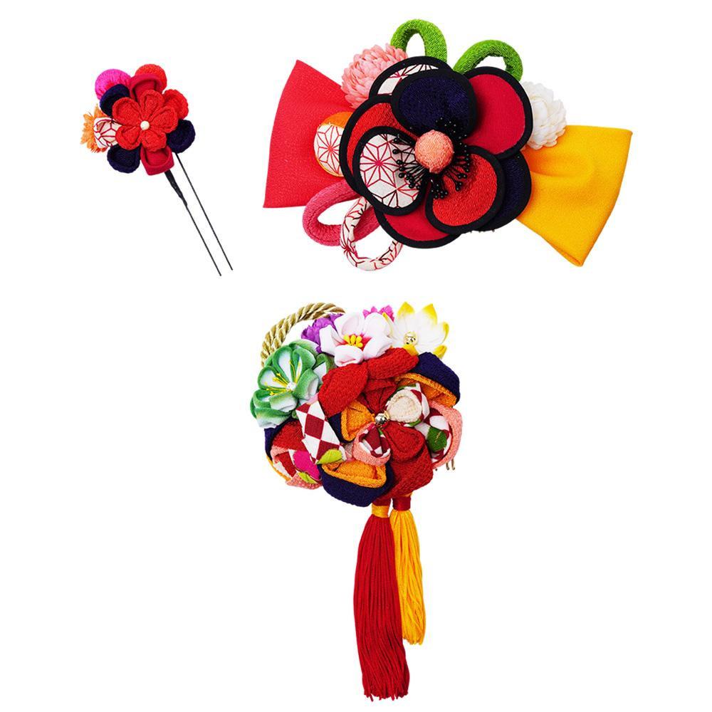 レトロポップな和風髪飾りセット (コーム2点・Uピン) 224-031 アカ【和装】