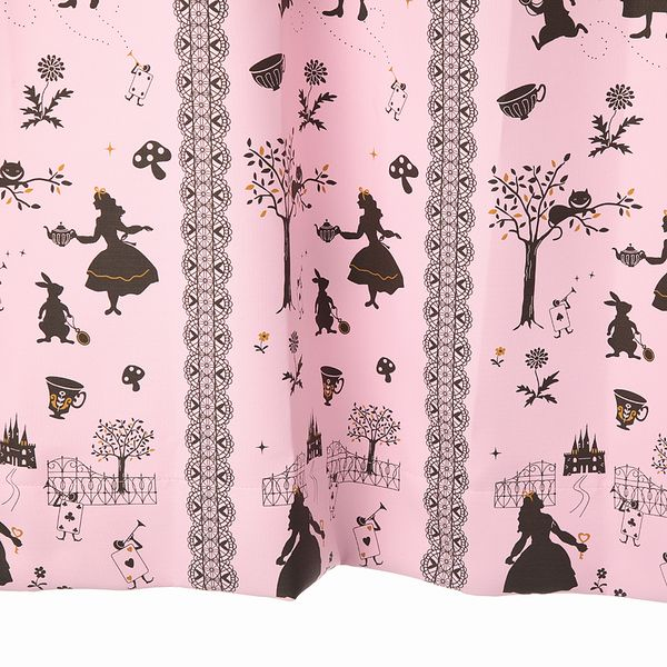【幅201から300cm】【丈51から80cm】プリーツが綺麗なオーダーカーテン アリス柄 ピンク【出荷区分N】