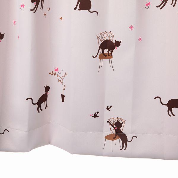 【幅201から300cm】【丈81から110cm】プリーツが綺麗なオーダーカーテン 猫柄 ピンク