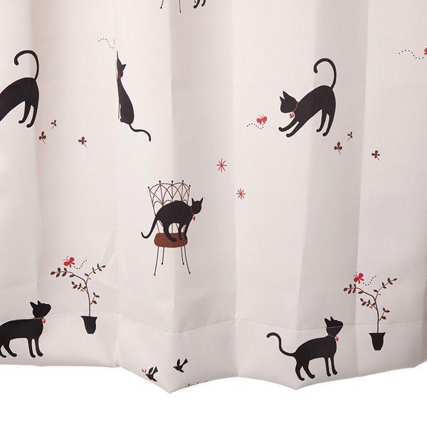 【幅101から200cm】【丈201から230cm】プリーツが綺麗なオーダーカーテン 猫柄 アイボリー