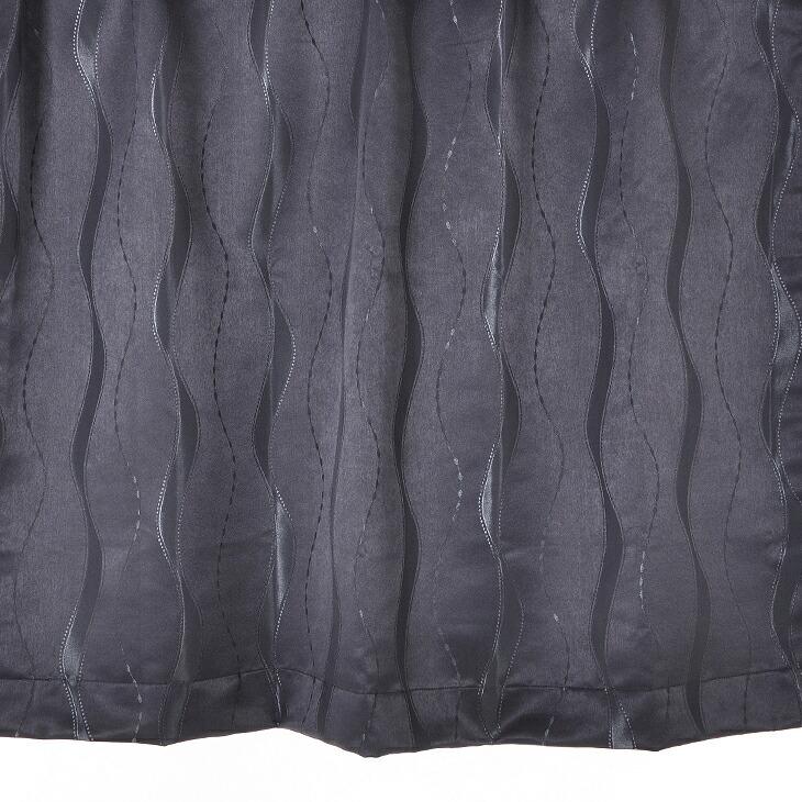 【幅201から300cm】【丈111から140cm】プリーツが綺麗なオーダーカーテン 波模様ブラック 9780bk