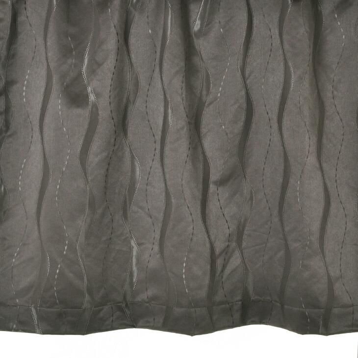 【幅201から300cm】【丈111から140cm】プリーツが綺麗なオーダーカーテン 波模様ブラウン 9780br