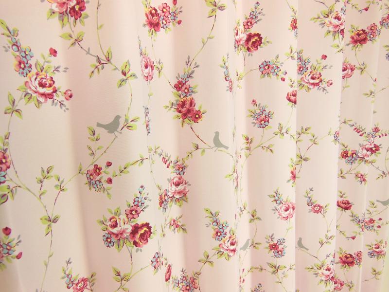 オーダーカーテン 花柄 ピンクorブルー 幅150cm×丈165~200cm2枚 kk441 納期10日程度 北欧
