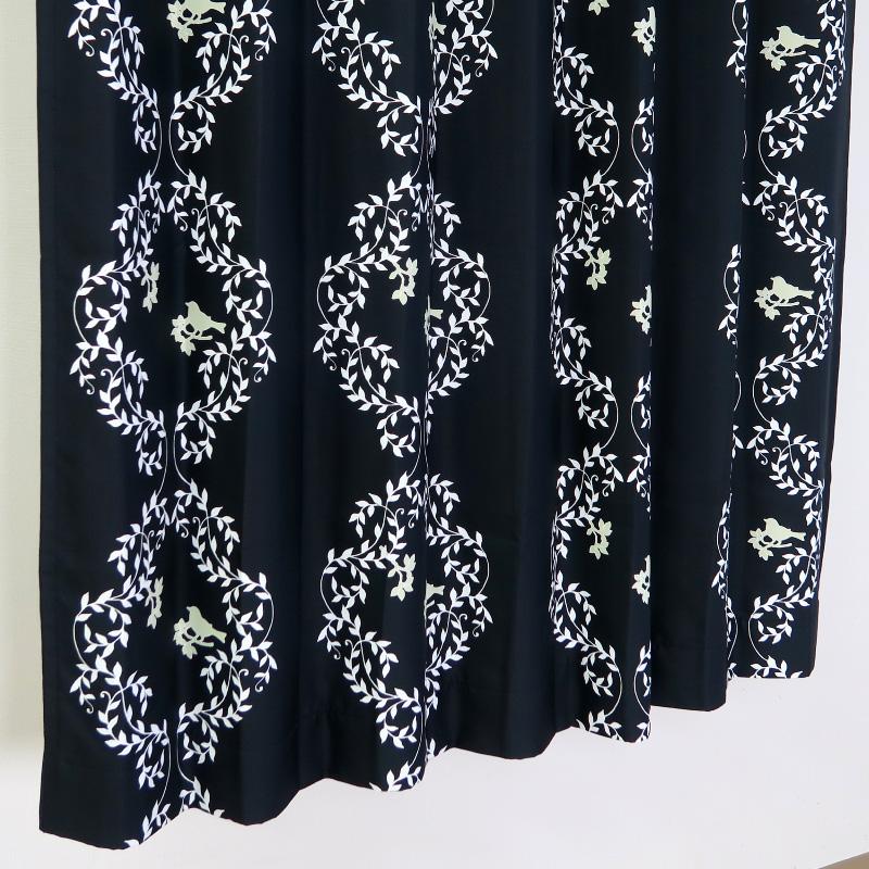 【幅201から300cm】【丈111から140cm】プリーツが綺麗なオーダーカーテン 小鳥柄ブラック kk348bk