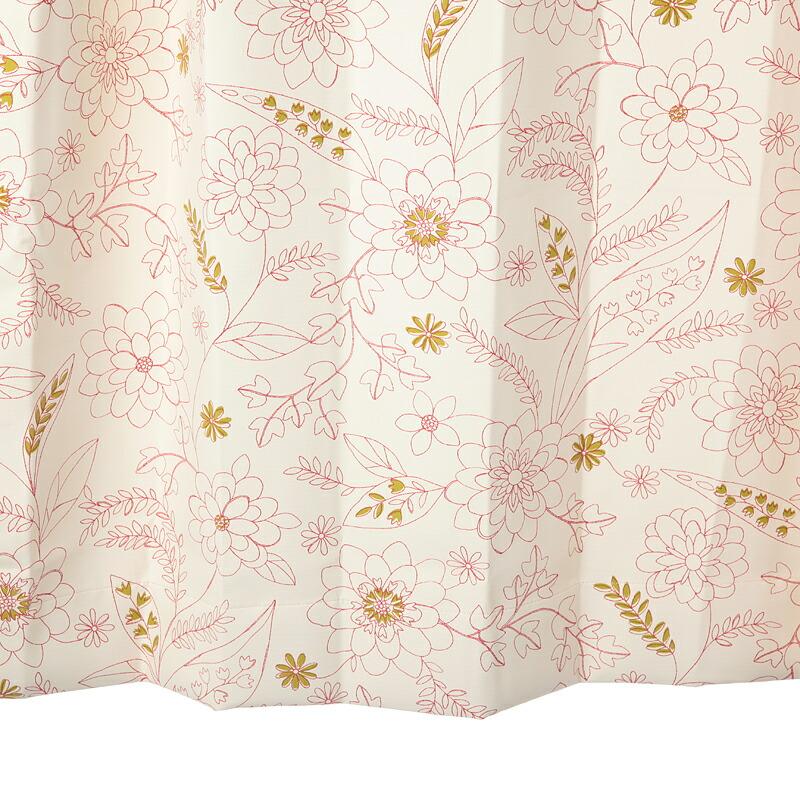 【幅201から300cm】【丈111から140cm】プリーツが綺麗なオーダーカーテン 花柄レッド ku355re