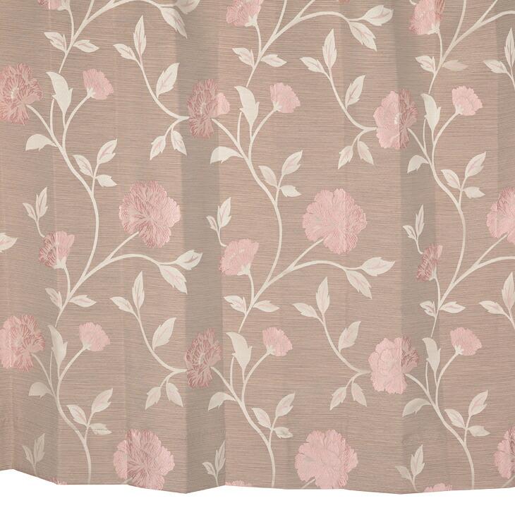 【幅201から300cm】【丈111から140cm】プリーツが綺麗なオーダーカーテン 花柄ブラウン mf110br【出荷区分N】