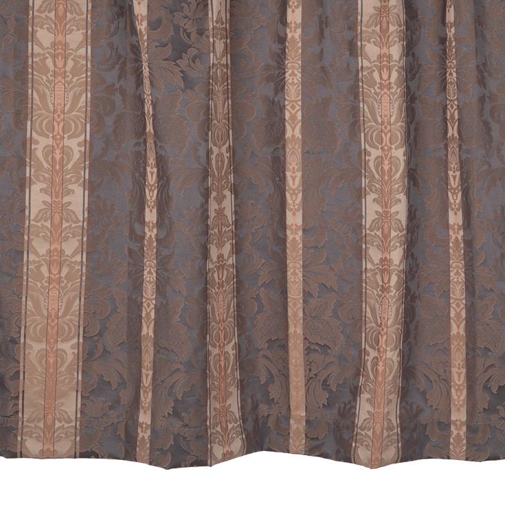 【幅201から300cm】【丈51から80cm】プリーツが綺麗なオーダーカーテン 王朝柄ブラック mf410bk