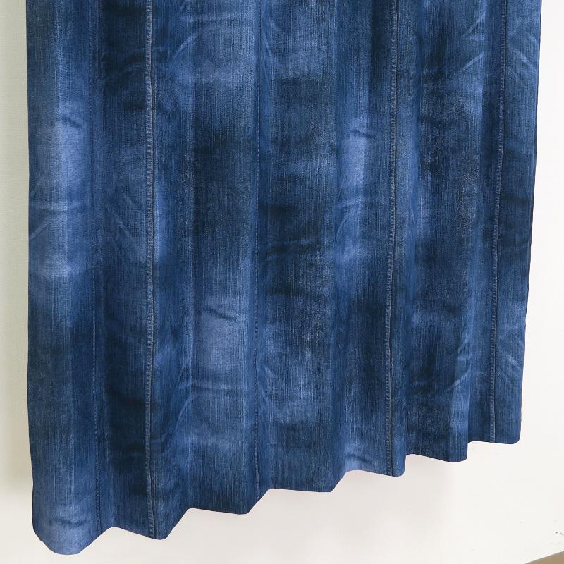 【幅201から300cm】【丈111から140cm】プリーツが綺麗なオーダーカーテン デニム風 ネイビー nk463nv