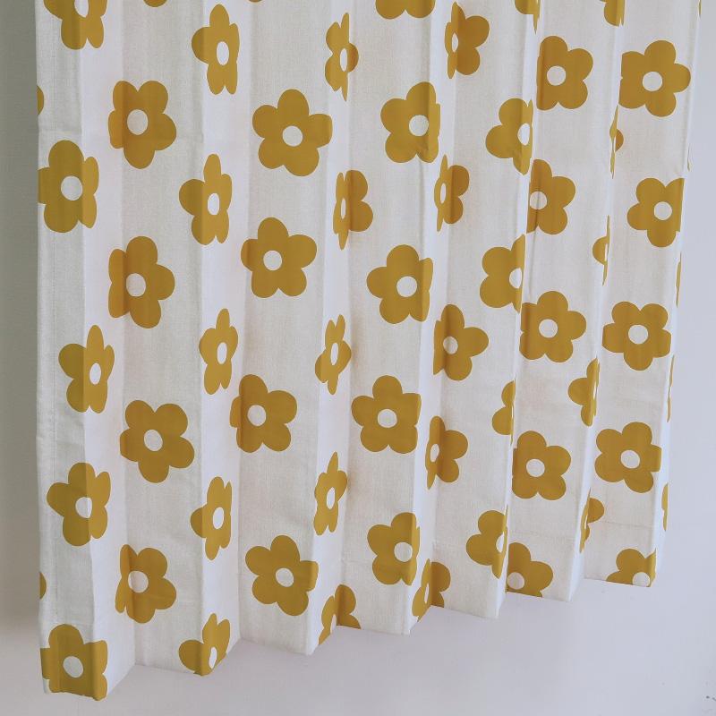 【幅201から300cm】【丈171から200cm】プリーツが綺麗なオーダーカーテン 花柄 イエロー nk468ye