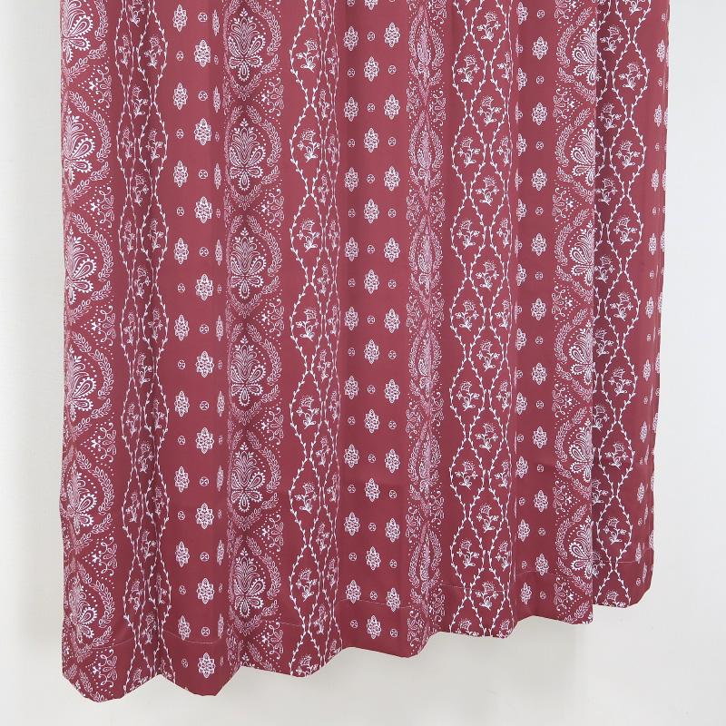 【幅101から200cm】【丈201から230cm】プリーツが綺麗なオーダーカーテン オリエンタル柄 レッド nk477re