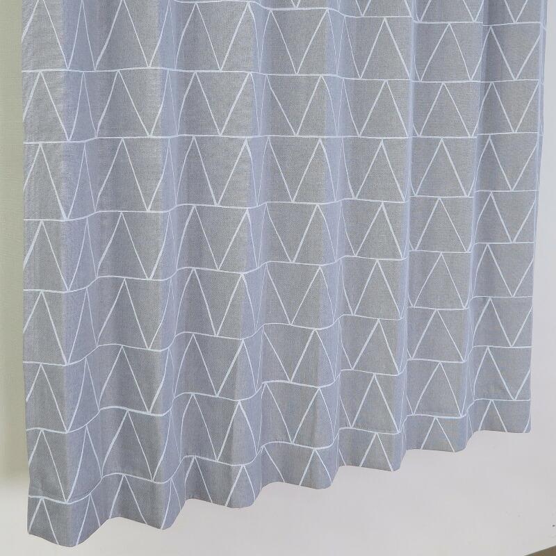 【幅201から300cm】【丈51から80cm】プリーツが綺麗なオーダーカーテン 幾何学柄 グレー ok469sl