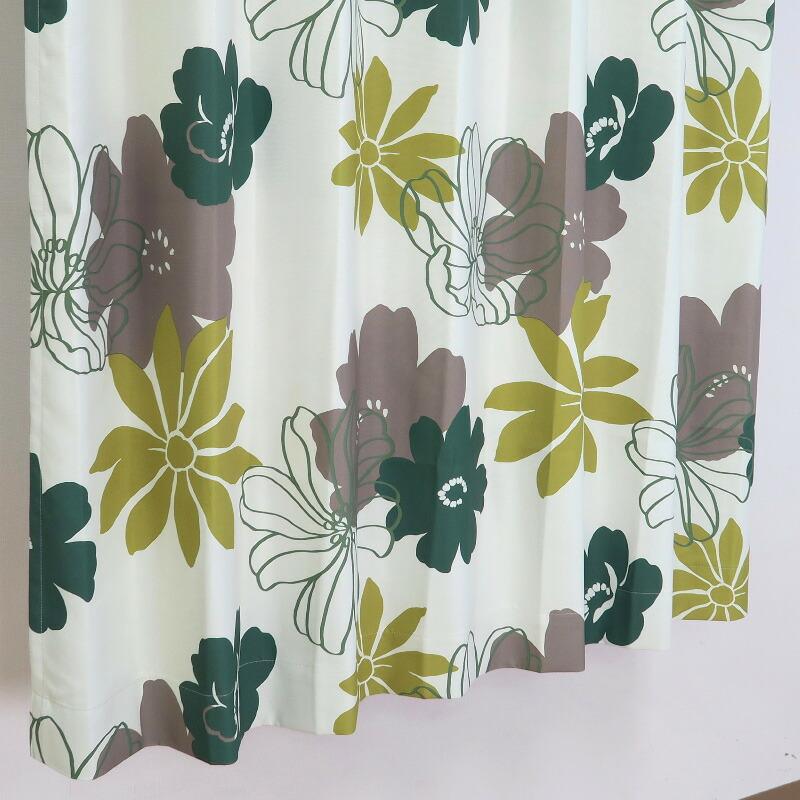 【幅201から300cm】【丈111から140cm】プリーツが綺麗なオーダーカーテン 花柄 グリーン un0087gn【出荷区分N】