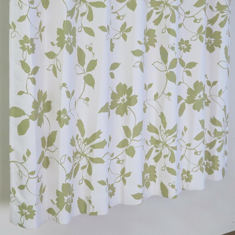 【幅101から200cm】【丈201から230cm】プリーツが綺麗なオーダーカーテン 花柄 グリーン un391gn
