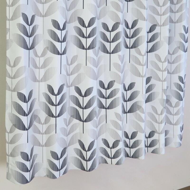 【幅201から300cm】【丈81から110cm】プリーツが綺麗なオーダーカーテン 幾何模様 グレー un438gry
