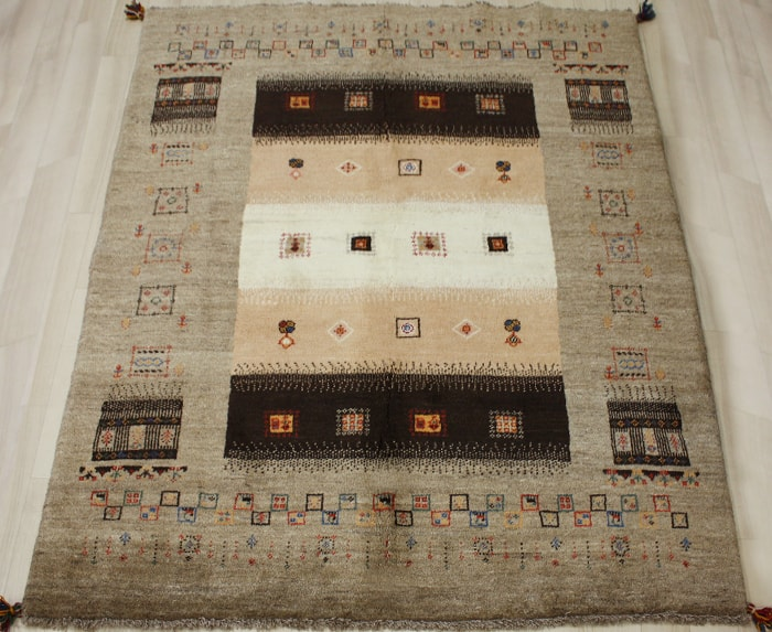 ギャベ ラグマット ウール100% イラン製 ギャッベ 世界に一枚だけ 約148×195cm ブラウン系 ペルシャギャベ BB24984 (Y) お買い物マラソン