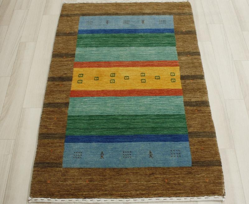 インドギャベ ラグマット ウール100% ギャベマット ハンドルーム マルチカラー 約82×128cm LB1528 (Y) あす楽対応 引っ越し 新生活