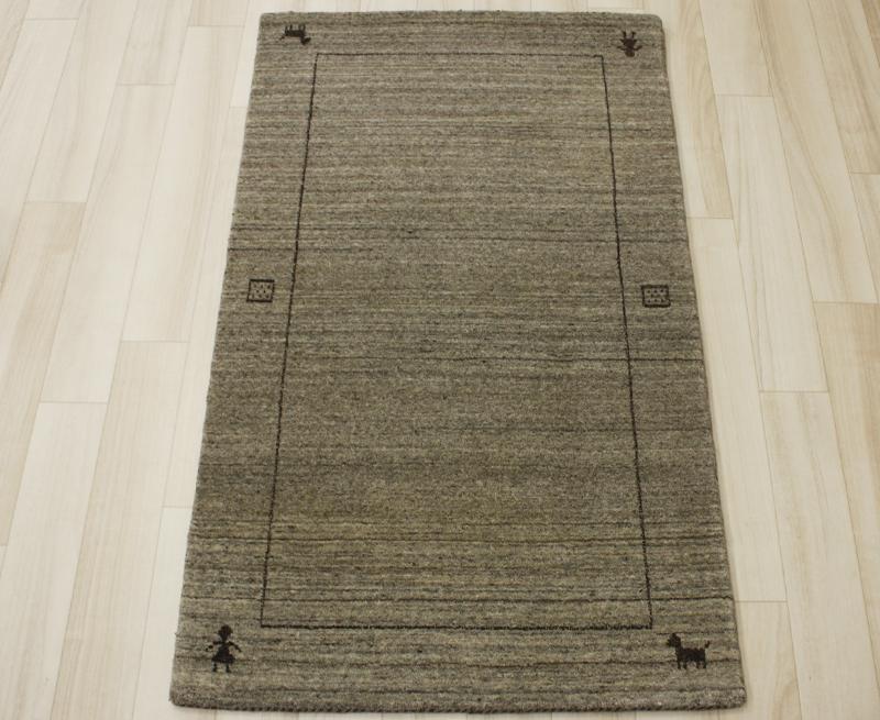 インドギャベ ラグマット ウール100% グレー gray 約60×90cm ハンドルーム VL1134 (Y) 【あす楽対応】