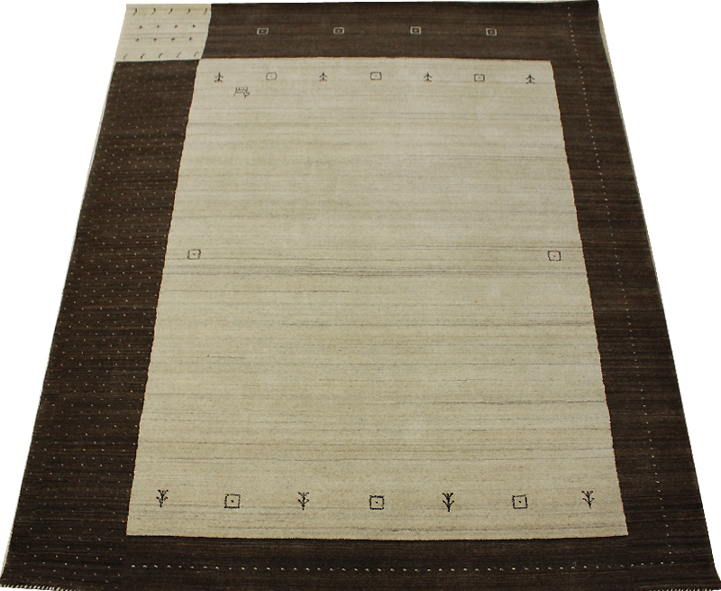 インドギャベ ラグマット ウール100% ブラウン 約168×228cm ハンドルーム VL1141 (Y) お買い物マラソン