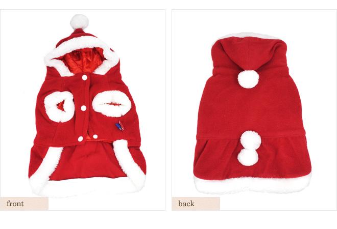 【犬服】もこもこサンタクロース コスチューム フード ワンピース アウター クリスマス ドッグウェア 小型犬用 秋冬 【pet5】【RCP】