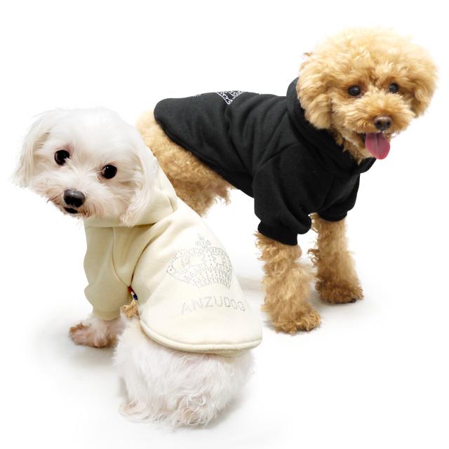 【犬服 秋冬】Anzudog(あんずドッグ) キラキラクラウンロゴ トレーナー パーカー ドッグウェア 中型犬 猫用 3L-4Lサイズ 裏起毛 伸縮素材 全2色