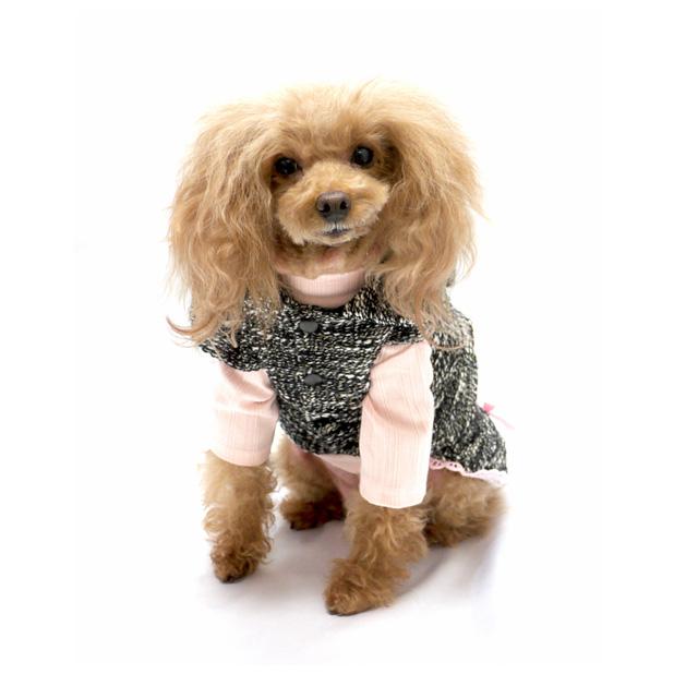 重ね着ツイードジャケット&ワンピース セットアップ ワンピース ドッグウエア 犬服  小型犬  犬用 ペット用品