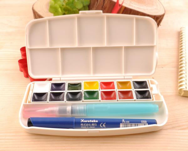 ☆ kuretake Fiss transparent watercolor set 14 color KURE-KG301-1