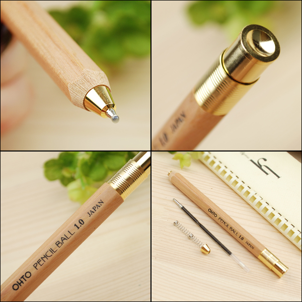 Auto OHTO pencil ball pen 1.0 mm natural/green / red / yellow / black BP-680E-NT/BP-680E-GN/BP-680E-EN/BP-680E-YL/BP-680E-BK