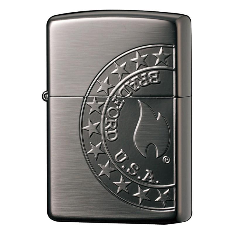ジッポー ZIPPO ライター FLAME ブラックニッケルメッキ・サテン仕上げ・片面エッチング 2BN-FLAME