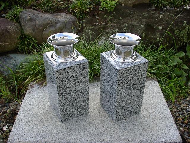 【お墓用花立】白御影石花立・ステンレス花筒付(お墓用)【送料無料】【お墓 花立】