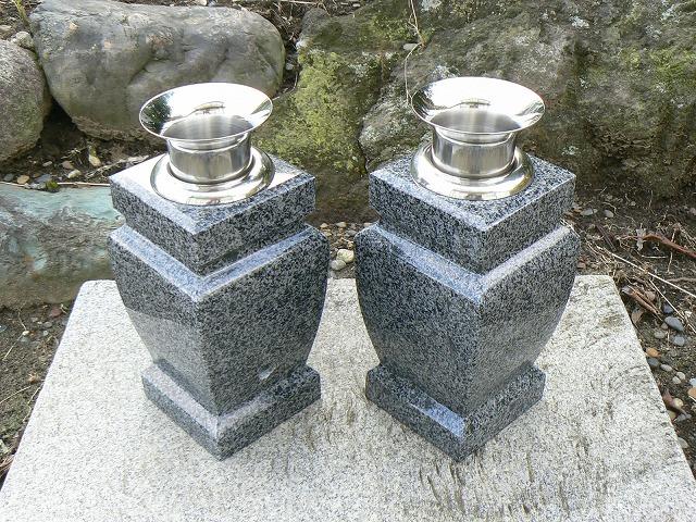 【お墓用花立】グレー御影石花立 花瓶型・ステンレス花筒付【送料無料】【お墓 花立】
