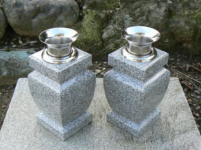 【お墓用花立】白御影石花立 花瓶型・ステンレス花筒付(お墓用)【送料無料】【お墓 花立】