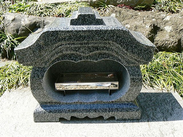 【お墓・墓石・香炉】 グレー御影石宮型香炉・香皿付【送料無料】
