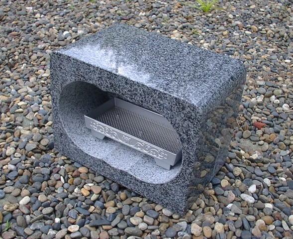 【お墓・墓石・香炉】グレー御影石香炉・香皿付【送料無料】