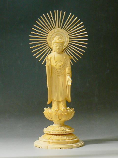 仏像 桧 東立弥陀 丸台座4.5寸(ひのき たちみだ まるだいざ)【送料無料】