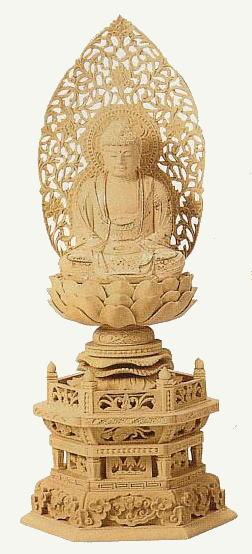 仏像 柘植 座釈迦 六角台座2.0寸(つげ ざしゃか ろっかくだいざ)【送料無料】