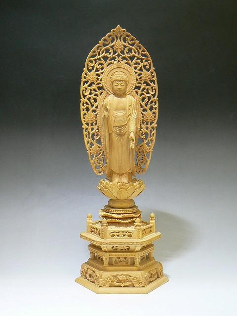 仏像 柘植 舟立弥陀 六角台座3.5寸(つげ たちみだ ろっかくだいざ)【送料無料】