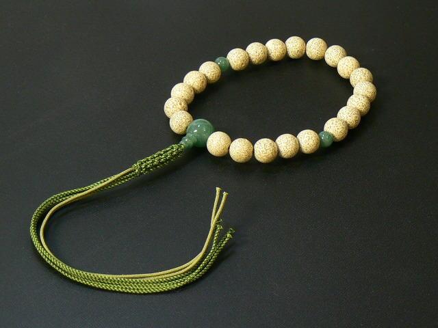 『星月菩提樹』 22玉片手念珠(数珠) 正絹六本紐房 アベン仕立(桐箱入り)