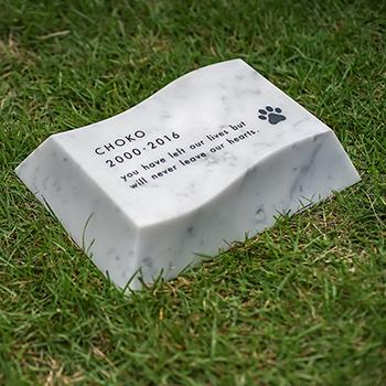 【Petcoti】【屋外用ペット墓石】Nami-ishi(波石)Lサイズ ホワイト(ビアンコカラーラ) No-06