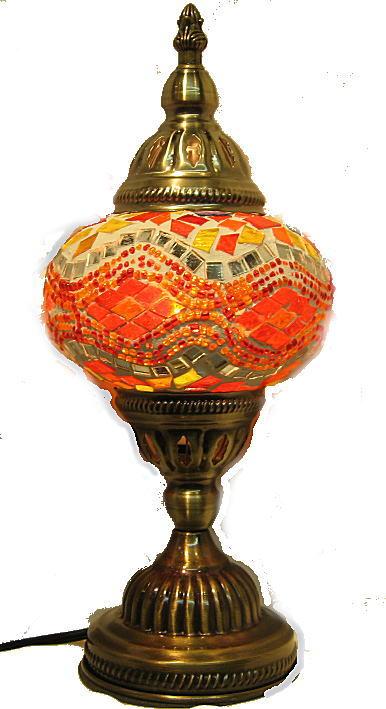 トルコランプ 02-1 アラジンモザイクランプ 中国製 幅13cm 奥行き13cm 高さ32cm モザイクガラスの直径13cm 重さ800g