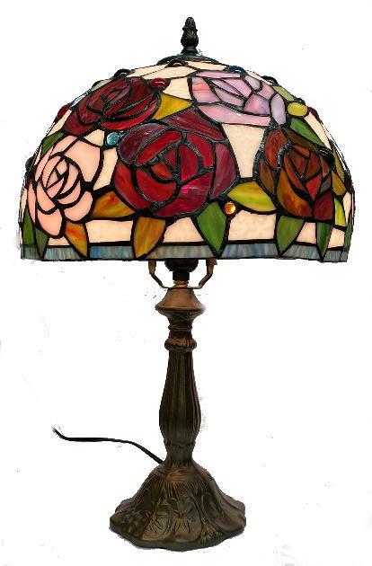 ステンドグラス ランプ ナギットとバラ柄 (シェード直径31cm 高さ47cm)