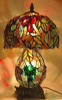 ステンドグラスランプ ナギットぶどう柄 上下ランプ 高さ36.5cm (Q8-4) ステンドグラス ランプ