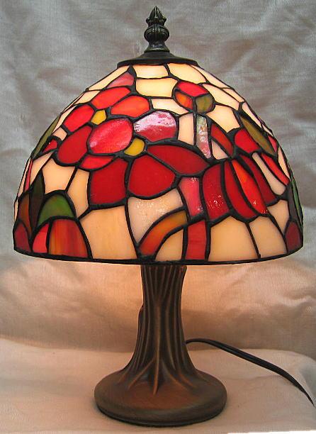 ティファニー風 ステンドグラス ランプ 赤花柄(シェード直径20cm 高さ28.5cm)